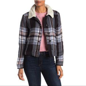 SUSINA Faux Shearling Trimmed Plaid Naya Jacket